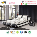 Rey blanco moderno Leather Bed para los muebles del dormitorio (HC316)