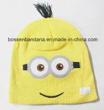 顧客用漫画によって印刷される子供は冬によって縞で飾られるアクリルの編まれた刺繍された帽子の帽子を暖める