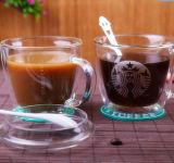 二重壁の印刷のガラスStarbuckのコーヒー・マグのコーヒーカップ