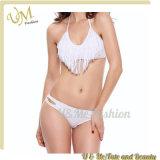 Frauen-spätester Badebekleidungs-weißer Bikini-bunte Wunder-Troddel Swinsuits