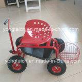 Jardim ajustável resistente Scoot do trator com cesta redonda