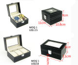 Casella di memoria di cuoio della visualizzazione della cassa per orologi per la cinghia meccanica del cinturino degli accessori della vigilanza dell'Gambo-Argano della vigilanza di sport (Ys101)