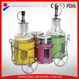 De Fles van het glas voor de Zoute Peper van de Azijn van de Olie met het Rek van het Kruid van het Roestvrij staal