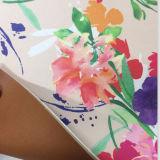 cuero del bolso de la PU de la cara del doble de la manera del espesor de 2.0m m con la flor de la impresión