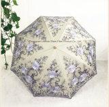 レースの紫外線日曜日パラソル2の折る3D花の刺繍の傘