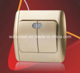 Soquete elétrico do interruptor leve do euro- estilo grande em dois sentidos em dois sentidos padrão de Viko da tecla de dois grupos do grupo um do soquete 220V um do interruptor