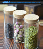 密封された台所用品の食糧はコルクのふたが付いているガラス記憶の瓶できる