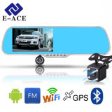 E-Ace Car Navigator Android DVR Mirror Rearview Câmera de 350 graus Bluetooth Handfree WiFi FM 5.0 polegadas Display FHD 1080P Recorder