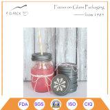 Vela del tarro de masón de la vendimia y sostenedores de vela de cristal