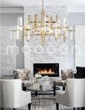 Lustre en cristal en métal d'or simple moderne de Champagne pour la salle de séjour