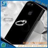 Sostenedor del anillo del Rhinestone que electrochapa la caja suave del espejo TPU para el caso de Kickstand del iPhone 7