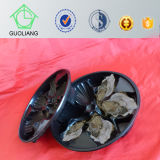 Food Frozen Packaging Supplies Black Round Plastic Oyster Tray com Compartments