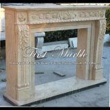 Cheminée en pierre de marbre Mfp-1006 d'or de désert de cheminée de granit