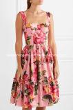 Bester Verkauf Blumen-Drucken Baumwolle-Popelin MIDI-Kleid-Kleidungs-Fabrik