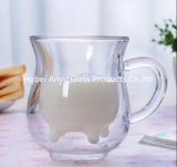 Milch-Glas-Cup des Kuh-Form-doppel-wandiges Glasbecher-8oz
