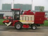 Máquina da colheita de milho da exploração agrícola com cabeça de cortador de quatro fileiras