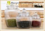 frasco de vidro do armazenamento da utilização alimentar do pulverizador 3PCS com tampa de vidro