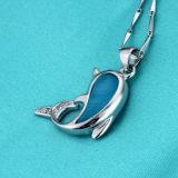 Delfini delle donne che saltano collana Pendant di pietra naturale d'argento 925 con la catena