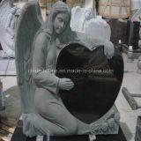 Monumento preto puro do anjo do coração do granito