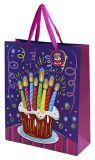 Sac de cadeau d'anniversaire, sac à provisions de papier, sac de papier d'emballage, sacs actuels de la fête d'anniversaire 3D avec des étiquettes