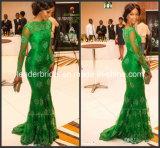 Grüne Spitze-formales Kleid-Nixe-langes Hülsen-Abend-Kleid E1417