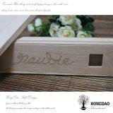 Hongdao caja de madera de lazo con el logotipo por encargo