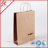 Venta caliente de encargo impresa modificada para requisitos particulares del bolso de compras del papel de Brown de la bolsa de papel que hace compras