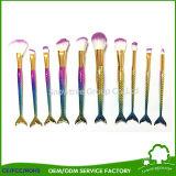 装飾的で総合的な毛が作る10PCS虹カラーは人魚の構成のブラシの魚のテールブラシにブラシをかける
