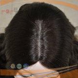 까만 Remy Vigin 사람의 모발 파도치는 두 배 매듭 피부 상단 가발 떨어져 베스트셀러