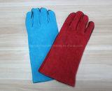 14 de '' gants protecteurs fendus de travail de soudure de travail de sécurité du travail de gants en cuir pleine vache