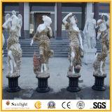 Statua di marmo bianca, scultura di marmo, scultura di pietra del giardino