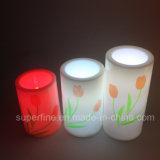 Romântico SPA decorativo elétrico de Natal produtos de vela de plástico com belas tulipas Pinting