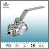 Válvula de esfera apertada sanitária do T com certificação do 9001:2008 do ISO