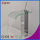 Fyeer High Body Crooked Square Glass Waterfall Spout Single Handle Robinet de lavabo chromé en laiton chromé Wasserhahn