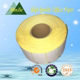 Escritura de la etiqueta auta-adhesivo termal amarilla y etiqueta engomada del papel bajo del papel cristal del color
