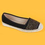أسود نوع خيش [إسبدريلّ] حذاء رياضة لأنّ نساء مع يرصّع معدنيّة