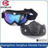 De zwarte Berijdende Beschermende brillen van de Helm van de Motorfiets met het Verwijderbare Masker van het Gezicht voor Open Gezicht