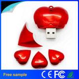 Movimentação plástica do flash do USB da forma popular do coração do amor