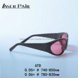 De Bril van de Veiligheid van de laser Atd 740850nm O.D 5+, 780830nm O.D6+ V.L.T 45% Ce voor 755nm & 808nm Lasers wordt verklaard die