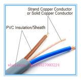 Кабель меди изоляции PVC плоский с проводом земли