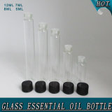 Bouteille en verre cosmétique claire de tube d'huile essentielle de fiole de parfum