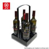Несущая вина 4 бутылок портативная для хранения индикации вина металла