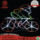 LED Santa Clus Riding Bike e Motor Christmas Rope Light para decoração de luz ao ar livre.