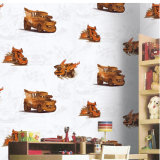 Le dessin animé bon marché de vente en gros des prix badine le papier peint imperméable à l'eau de vinyle de papier de mur de chambre à coucher