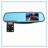 Coche dual auto DVR del espejo de la cámara de la lente de la leva de la rociada