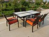알루미늄 식사 고정되는 옥외 등나무 가구 7개 피스 세라믹 테이블