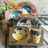 Vaisselle alimentante de marque d'enfants de la vaisselle 5PCS de bébé en bambou grand de fibre plaque réglée d'Eco réglée pour des gosses