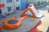 プールのための普及した膨脹可能な浮遊トランポリンのスライド