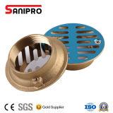 Dreno de assoalho de bronze quadrado do chuveiro do banheiro com tampa