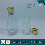Freie Einzeln-Brennkolben Form-Glas-wesentliches Öl-Flasche mit Blumen-Schutzkappe